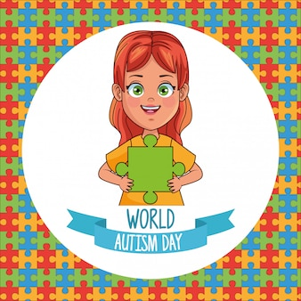 World autism day girl with puzzle pieces vector illustration design