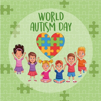 World autism day kids with heart puzzle vector illustration design