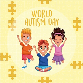 World autism day kids with puzzle pieces vector illustration design