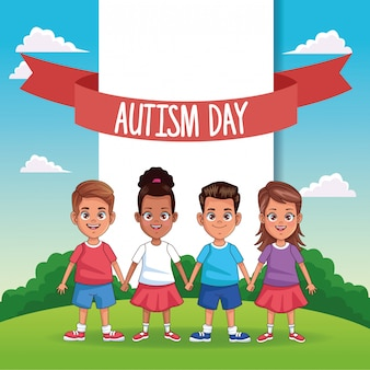 World autism day with kids in the field