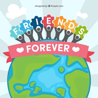 Мировой фон и друзья с кусочками головоломки
