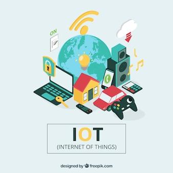 Sfondo mondiale e elementi con internet