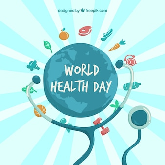 World background with healthy food and stethoscope