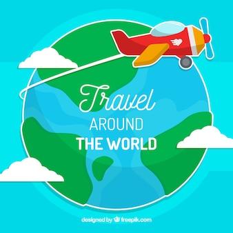 Sfondo mondiale con aeromobili leggeri