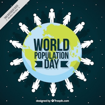 World background with people for population day
