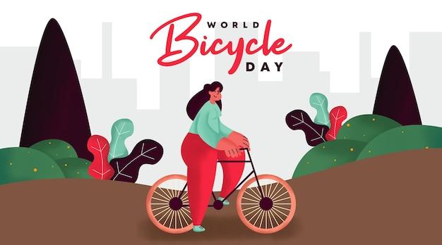 Всемирный день велосипеда фоновой иллюстрации