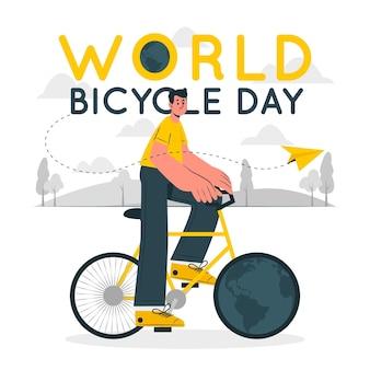 Иллюстрация концепции всемирного дня велосипеда