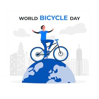 世界自転車デーのコンセプトイラスト