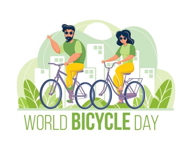 Всемирный день велосипеда в плоском стиле