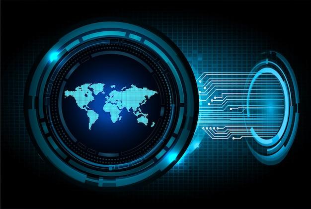 世界のバイナリ回路基板の将来の技術、青いhudサイバーセキュリティの概念の背景