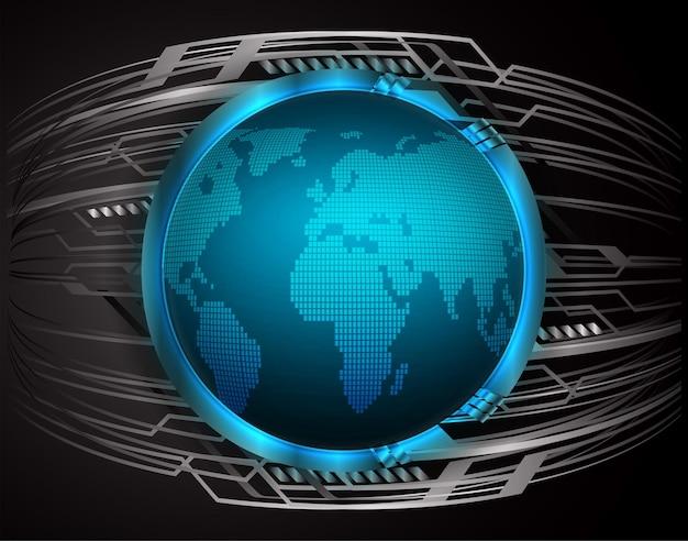 世界のバイナリ回路基板の将来の技術ブルーハッドサイバーセキュリティの概念の背景