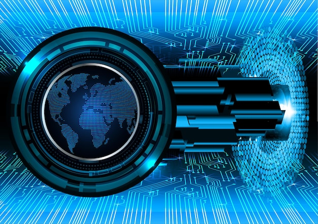 World binary circuit board future technology blue hud cyber security concept background