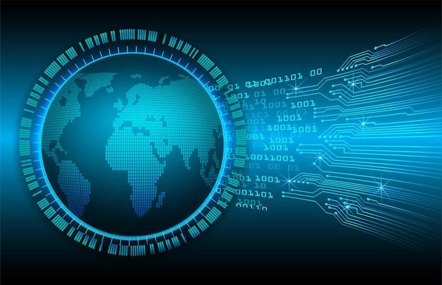 Мировая двоичная плата будущих технологий синий hud концепция кибербезопасности фон