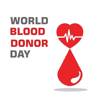 World blood donation day background with drop and heart