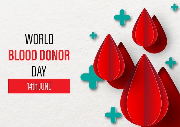 World blood donor day. 14th june. blood droplet on green plus shape