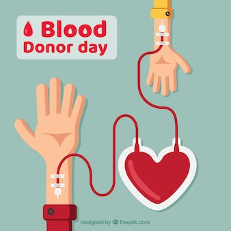 World blood donor day background with two arms and a heart