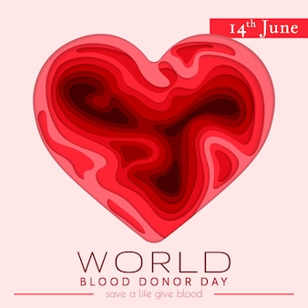 World blood donor day card. awareness vector banner with red paper cut blood heart. hemophilia day paper craft poster.