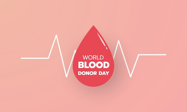 World blood donor day red paper cut drop icon with text background and banner