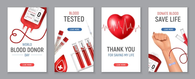World blood donor day vertical banners set