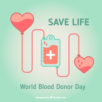 World blood donor day with hearts background