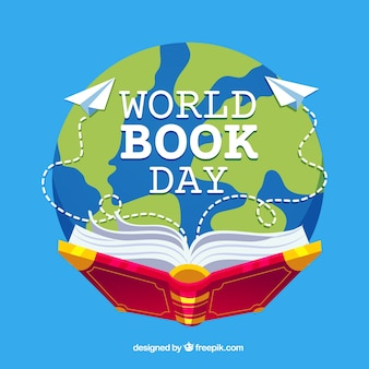 Priorità bassa di giorno del libro del mondo in stile piano