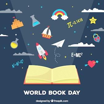 Всемирный день книги в плоском стиле