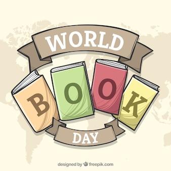 Фон в мире книг в стиле ручного рисунка