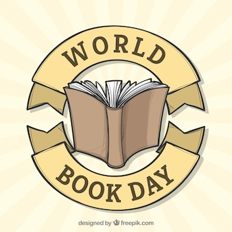 World book day background in hand drawn style