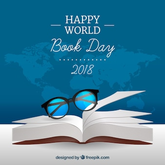 World book day background in realistic style