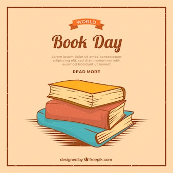 World book day background in vintage style