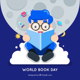World book day background with boy in flat style