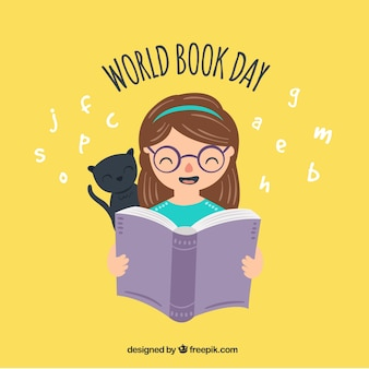 World book day background with girl and cat