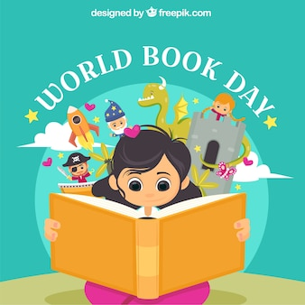 World book day background with girl reading