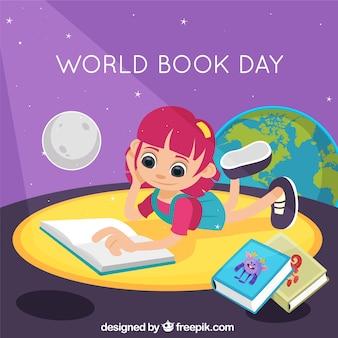 Всемирный день книги фон с девушкой чтение