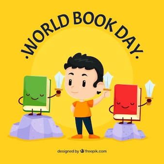 World book day background with kid reading