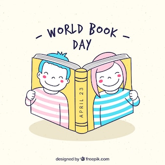 World book day background with kids