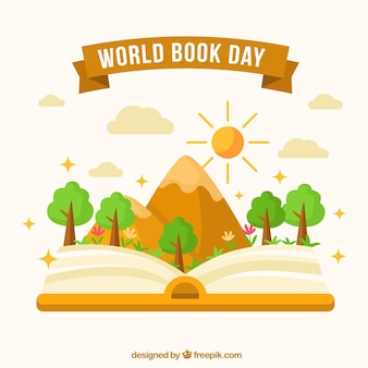 World book day background with mountain