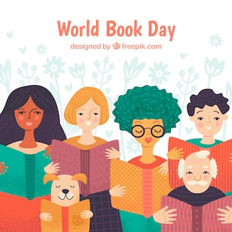 World book day background with people reading