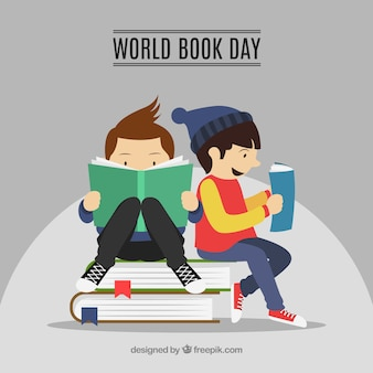 World book day background with reading kids