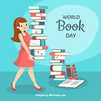 World book day background with woman carrying books
