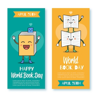 World book day banner collection template