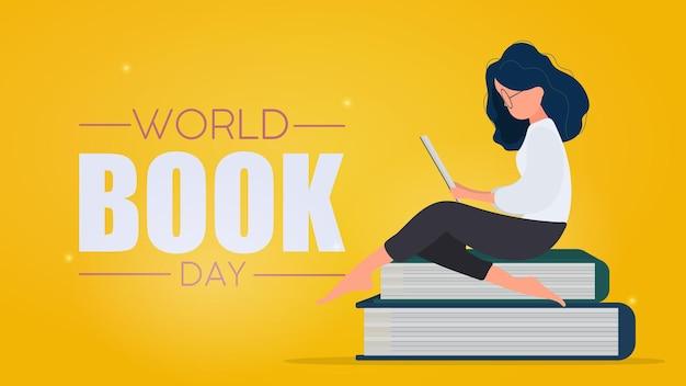 世界図書の日のバナー。女性は本を読んでいます。ベクター。