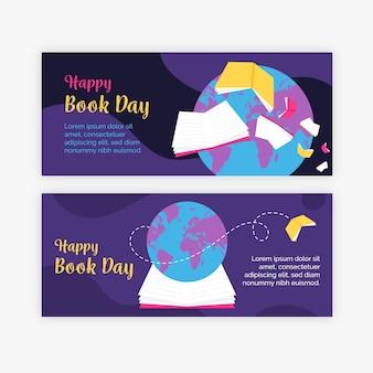 Banner di giornata mondiale del libro in design piatto