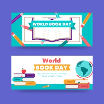 World book day banners in flat design