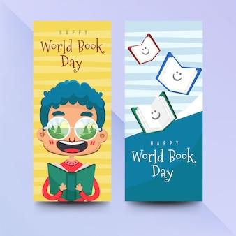 평면 스타일의 세계 책의 날 배너