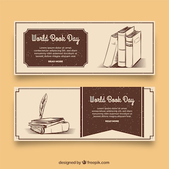 World book day banners in vintage style