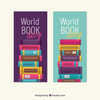 World book day banners with colored books in flat design