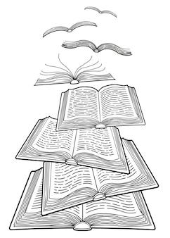 Всемирный день книги. концепция открытых книг, летающих как птицы. подробная раскраска для взрослых