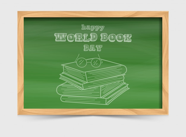 World book day concept with blackboard and stack of books