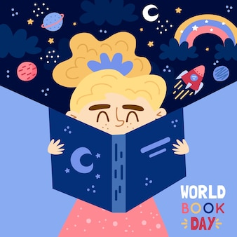 世界の本の日を描く